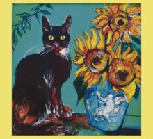 SUNFLOWERS WITH BLACK CAT IN BLUE TURQUOISE  One Piece - Short Sleeve