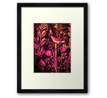 POMPEII COLLECTION NIGHTINGALE WITH PINK ROSES Framed Print