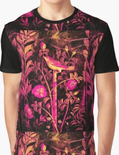 POMPEII COLLECTION NIGHTINGALE WITH PINK ROSES Graphic T-Shirt