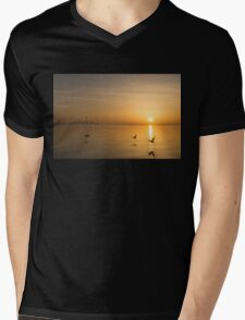 Wings at Sunrise - Toronto Skyline With Flying Geese Mens V-Neck T-Shirt