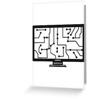 wire connections data microchip electronically screen tv pc computer display image design Greeting Card
