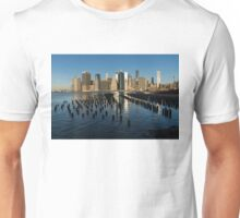 Luminous Blue, Silver and Gold - Manhattan Skyline and East River Unisex T-Shirt