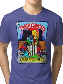 Trash Can Cats - Sunset Supper Tri-blend T-Shirt