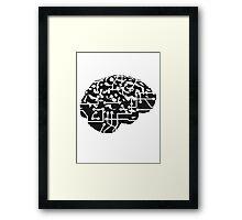 cyborg brain machine computer science fiction microchip intelligence brain design cool robot black Framed Print