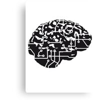 cyborg brain machine computer science fiction microchip intelligence brain design cool robot black Canvas Print