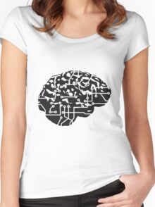 cyborg brain machine computer science fiction microchip intelligence brain design cool robot black Women's Fitted Scoop T-Shirt