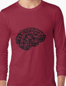 cyborg brain machine computer science fiction microchip intelligence brain design cool robot black Long Sleeve T-Shirt