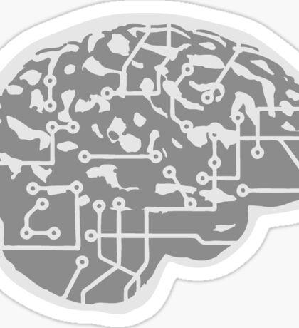 cyborg brain machine computer science fiction microchip intelligence brain design cool robot Sticker