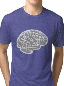 cyborg brain machine computer science fiction microchip intelligence brain design cool robot Tri-blend T-Shirt