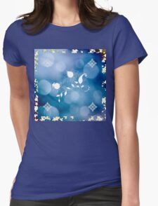 Blue Flowers Scarf Womens Fitted T-Shirt