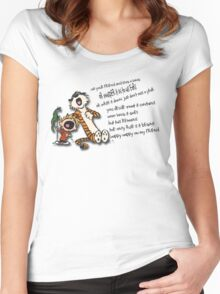 Calvin & Hobbes Go Backwards Down the Number Line (Phish) Women's Fitted Scoop T-Shirt