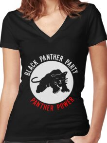 THE BLACK PANTHER PARTY Women's Fitted V-Neck T-Shirt