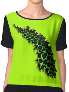 Green and Yellow Leopard Print Ripped Tear Design  Chiffon Top