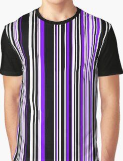 Vertical Bar Code Stripes Design Purple and Black Graphic T-Shirt