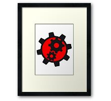 cool cogs design engine clockwork turn mechanically logo Framed Print