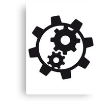 cool cogs design engine clockwork turn mechanically logo Canvas Print