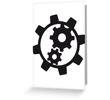 cool cogs design engine clockwork turn mechanically logo Greeting Card