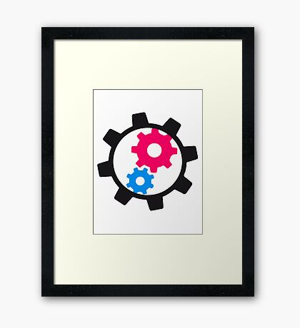cool cogs design engine clockwork turn mechanically Framed Print