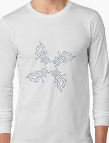 cool lines design circuitry technology lines microchip disk pattern star Long Sleeve T-Shirt