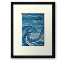 The Churning (embroidered seascape) Framed Print