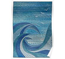 The Churning (embroidered seascape) Poster