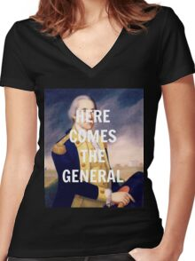 Here Comes the General - George Washington Women's Fitted V-Neck T-Shirt