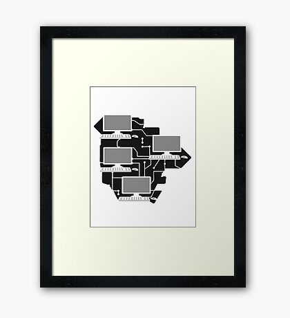 cool lanparty networked gamer gamble connected pattern mouse keyboard screen tv pc computer display image design Framed Print