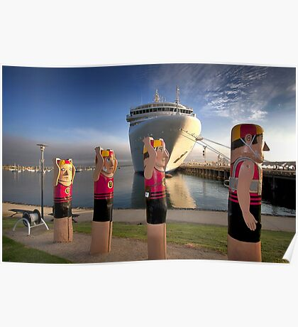 Bollards and Silver Spirit - Geelong Poster