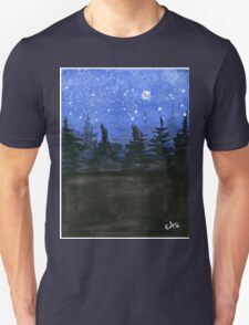 Moonlight at the Forest - Watercolor Painting T-Shirt