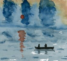 Blue Abstract Sunset - Watercolor Painting Sticker