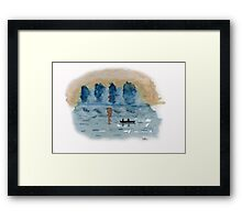 Blue Abstract Sunset - Watercolor Painting Framed Print