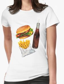 Burger Fries & Soda Pattern Womens Fitted T-Shirt