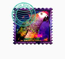 AFRICAN GREY PSYCHEDELIC POSTAGE STAMP Womens Fitted T-Shirt