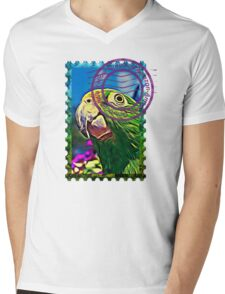 Yellow-crowned amazon PSYCHEDELIC POSTAGE STAMP Mens V-Neck T-Shirt