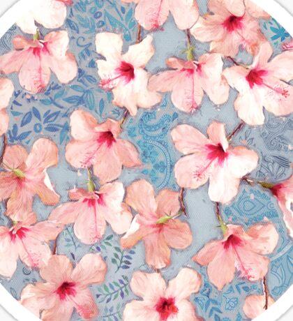 Shabby Chic Hibiscus Patchwork Pattern in Pink & Blue Sticker