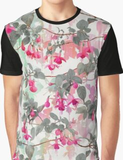 Rainbow Fuchsia Floral Pattern - with grey Graphic T-Shirt