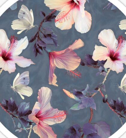 Butterflies and Hibiscus Flowers - a painted pattern Sticker