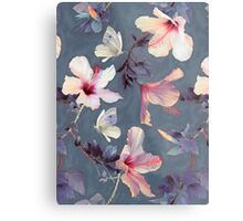 Butterflies and Hibiscus Flowers - a painted pattern Metal Print