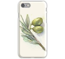 Green Olives Branch Watercolor Illustration iPhone Case/Skin