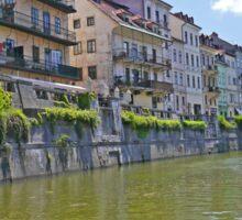 Homes along the Ljubanica River, Ljubljana, Slovenia Sticker