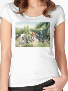 Vineyard Watercolor Painting Women's Fitted Scoop T-Shirt