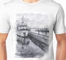Boat Watercolor Waterfront Marina Sailing Boating Unisex T-Shirt