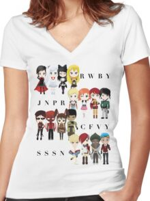 Chibi Team RWBY JNPR CFVY & SSSN Women's Fitted V-Neck T-Shirt