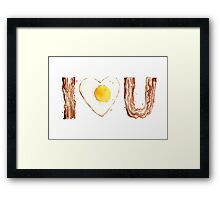 I Love Bacon and Egg Whimsical Watercolor Illustration Framed Print