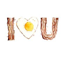 I Love Bacon and Egg Whimsical Watercolor Illustration Photographic Print