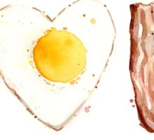 I Love Bacon and Egg Whimsical Watercolor Illustration Sticker