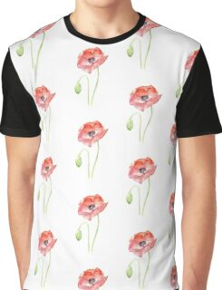 Red Poppy Watercolor Floral Painting  Graphic T-Shirt