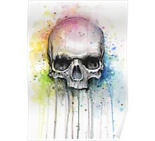 Watercolor Skull Rainbow Colorful Painting Poster