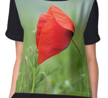 Wild red poppy Chiffon Top