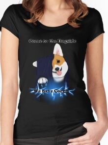 Come to the Dogside we have Corgis! Women's Fitted Scoop T-Shirt